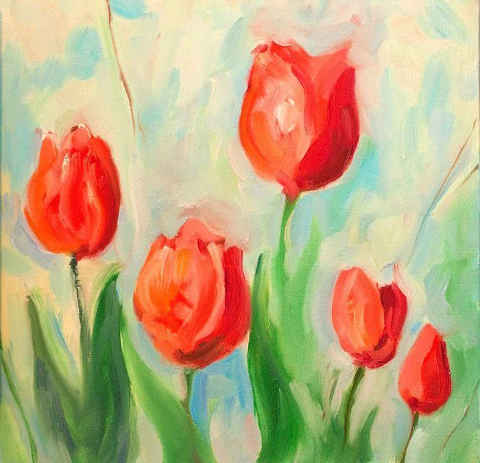 5 red tulips