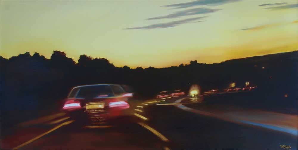 "Car at dusk 94 West. Oil on canvas 36"" x 18"""
