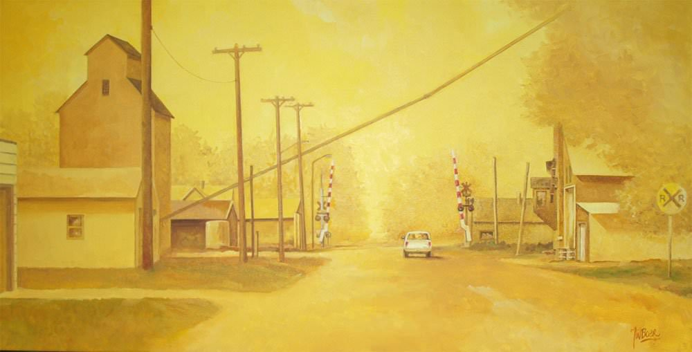 "Ghost Town. Oil on canvas 36""x18"". Sold"