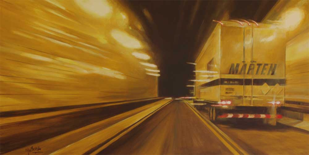 "In the tunnel thru PA. Oil on canvas 36"" x 18"""