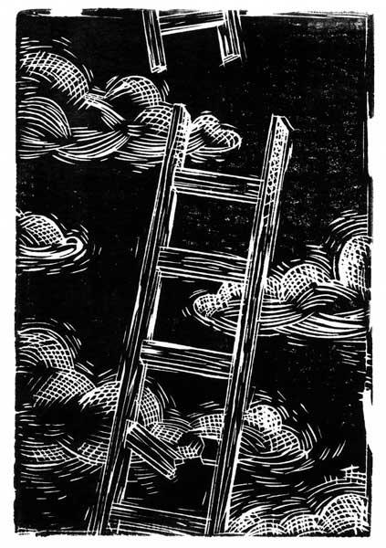 Trying to reach God (Lino Cut 6″x4″)